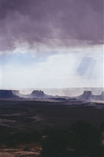 Preview iPhone wallpaper Canyonlands National Park, clouds, mountains, canyon, sun rays, USA