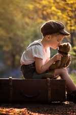 Preview iPhone wallpaper Child boy and teddy bear, suitcase
