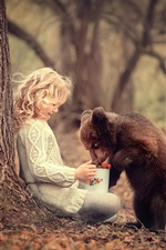 Preview iPhone wallpaper Child girl and bear cub, friends