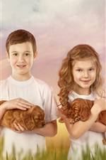 Preview iPhone wallpaper Child, girl and boy, puppies