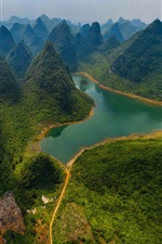 Preview iPhone wallpaper China, Guilin Lijiang River National Park, mountains, river, green, top view