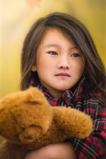 Preview iPhone wallpaper Chinese child girl and her toy bear