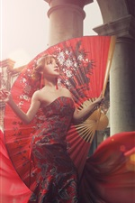 Preview iPhone wallpaper Chinese girl, big fan, red clothes