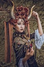 Menina chinesa, chifres, toca, decoração