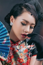 Preview iPhone wallpaper Chinese girl, retro style dress, fan