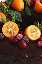 Preview iPhone wallpaper Chocolate cake, kumquat, berries