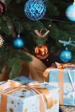 iPhone fondos de pantalla Bolas de Navidad y regalos, año nuevo