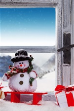 Preview iPhone wallpaper Christmas, snowman, snow, window, lamp, gift