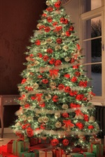 Preview iPhone wallpaper Christmas tree, fireplace, decoration, room