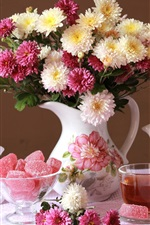 Preview iPhone wallpaper Chrysanthemum, bouquet, vase, candy, tea, clock