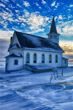 Preview iPhone wallpaper Church, winter, snow, clouds, sunset