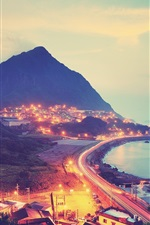 City, mountains, road, lights, sea, coast, night