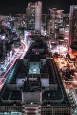 Preview iPhone wallpaper City night, lights, roads, skyscrapers, Osaka, Japan