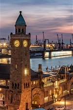 Preview iPhone wallpaper City night, river, port, buildings, lights, Hamburg, Germany
