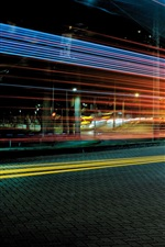Preview iPhone wallpaper City night view, road, light lines