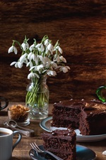 Preview iPhone wallpaper Coffee, chocolate cake, snowdrops, oil lamp
