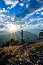 Colorado, Montanhas Rochosas, EUA, sol, céu, nuvens
