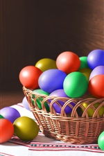 Preview iPhone wallpaper Colorful Easter eggs, basket, light