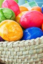 Preview iPhone wallpaper Colorful Easter eggs, basket, rabbit, tulips