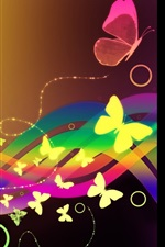 Preview iPhone wallpaper Colorful curves, butterfly, abstract
