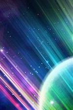 Linhas de luz coloridas, planeta, resumo