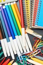 Preview iPhone wallpaper Colorful pencils, brush, scissors, notebook, calculator, paper clip