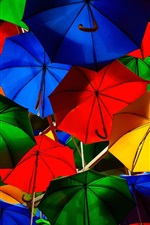 Preview iPhone wallpaper Colorful umbrellas, street