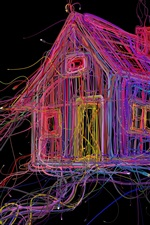 Preview iPhone wallpaper Colorful wire house, cables, abstraction, creative