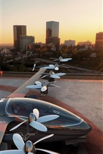 Preview iPhone wallpaper Concept drone, aircraft, city, sunset