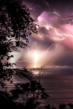 Preview iPhone wallpaper Costa Rica, night, sea, clouds, lightning