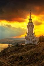 Crimea, farol, templo, mar, nuvens, pôr do sol
