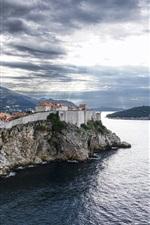 Preview iPhone wallpaper Croatia, Dubrovnik, sea, clouds, island, houses