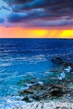 Preview iPhone wallpaper Croatia, beautiful sunset, sea, clouds, stones