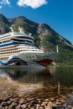 Cruise ship, mountains, sea