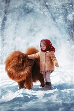 Preview iPhone wallpaper Cute child girl and dog in the winter, thick snow, trees