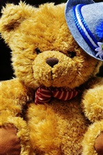 Preview iPhone wallpaper Cute teddy bear, blue hat