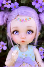 Preview iPhone wallpaper Cute toy girl, doll, flowers