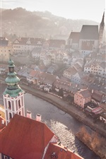 Preview iPhone wallpaper Czech Republic, Cesky Krumlov, city, river, houses, morning, fog