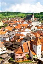 Preview iPhone wallpaper Czech Republic, Krumlov, city, buildings, houses, river