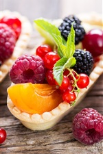 Preview iPhone wallpaper Delicious fruit, berries, currants, peach, raspberry, dessert