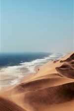 Preview iPhone wallpaper Desert, wind, dunes, lake