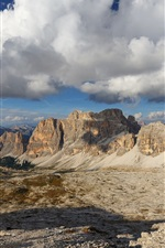 Preview iPhone wallpaper Dolomites, Italy, mountains, rocks, clouds