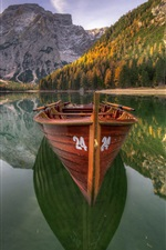 Preview iPhone wallpaper Dolomites, lake, boat, trees, mountains