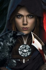 Preview iPhone wallpaper Dragon Age: Inquisition, girl, dagger