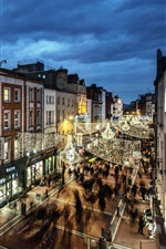 미리보기 iPhone 배경 화면 더블린, 아일랜드, 건물, 저녁, 집들이, 가로등
