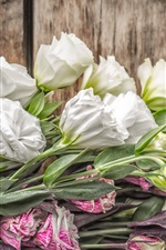 Preview iPhone wallpaper Eustoma flowers, bouquet, wood board