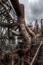 Preview iPhone wallpaper Factory, rusty, pipes, cloudy sky