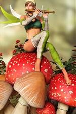 Fada, flauta de garotas, cogumelos
