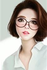 Fantasia menina asiática, óculos, cabelo curto