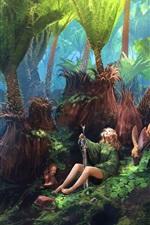 Vorschau des iPhone Hintergrundbilder Fantasiekunst, Mädchen, Klinge, Rotwild, Wald, Grün, malend